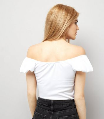 White Puffed Sleeve Bardot Neck Top New Look
