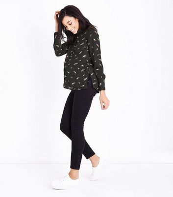 Maternity Black Polka Dot Bird Print Shirt New Look