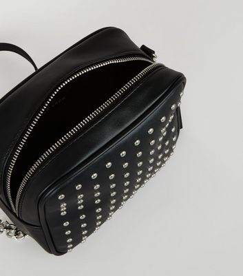 Black Studded Square Cross Body Bag New Look