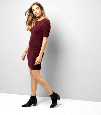 Burgundy Puff Sleeve Bodycon Dress New Look