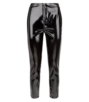 Black Zip Front Leather-Look Trousers New Look