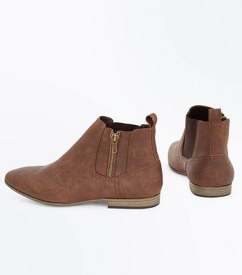 Dark Brown Zip Side Chelsea Boots New Look