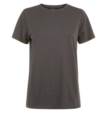 Dark Grey Rolled Sleeve T-Shirt New Look