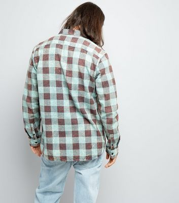 Green Acid Wash Check Shirt New Look