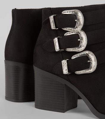 Wide Fit Black Buckle Side Ankle Boots New Look