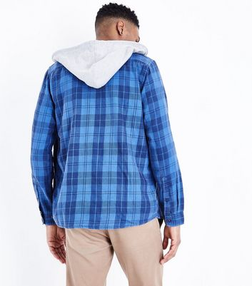 Blue Hooded Check Shirt New Look