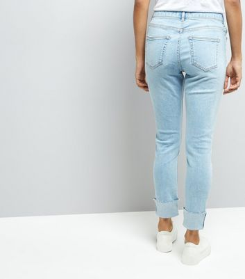 Petite Blue Rose Gold Studded Turn Up Skinny Jeans New Look