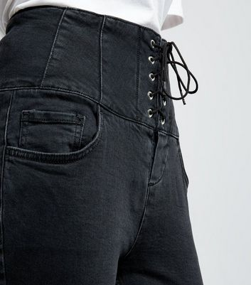 Petite Black Eyelet Lace Up High Waist Skinny Jeans New Look