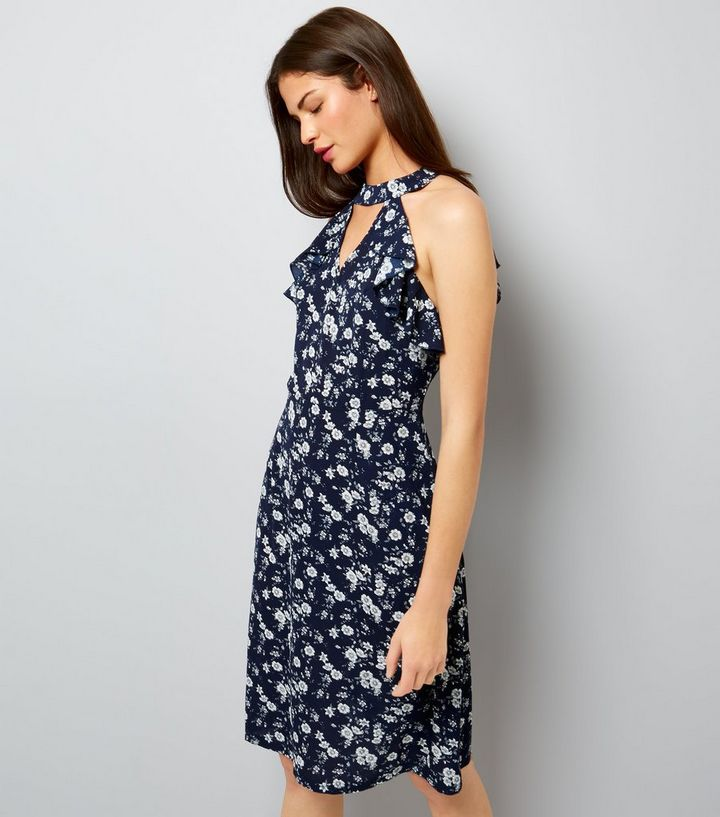 57e7fa3ed87 Blue Vanilla - Robe bleu marine à imprimé floral et dos nu