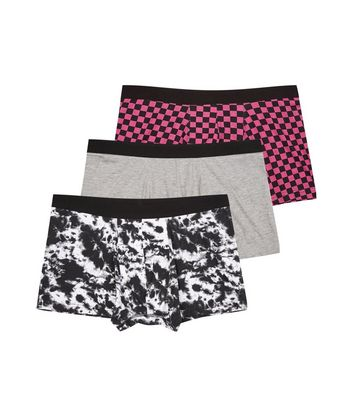 3 Pack Pink Checkerboard Print Trunks New Look