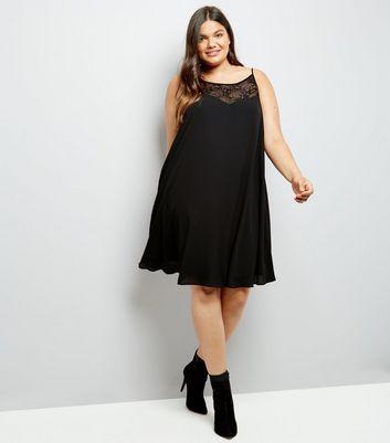 Curves Black Lace Trim Dress New Look