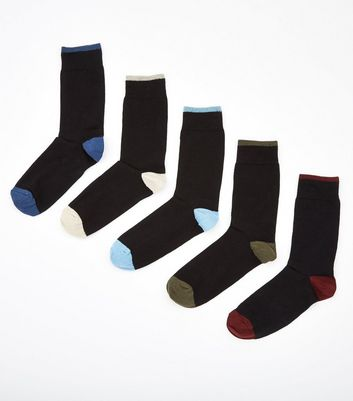 5 Pack Black Colour Tipped Socks New Look