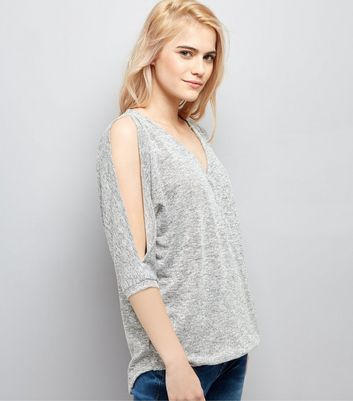 Grey V Neck Cold Shoulder Top New Look