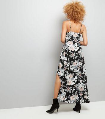 Black Floral Print Wrap Maxi Dress New Look