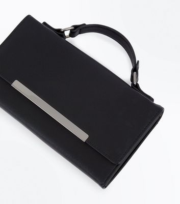 Black Chain Strap Clutch New Look