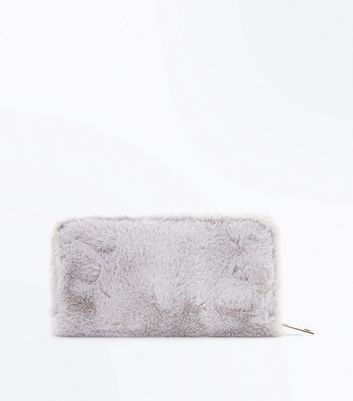 Grey Faux Fur Zip Around Purse New Look