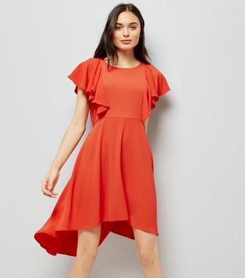 Red Dip Hem Frill Trim Dress New Look