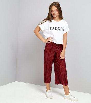 Teens Burgundy Pleatd Trousers New Look