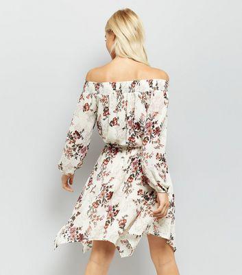 Cream Floral Print Chiffon Hanky Hem Dress New Look