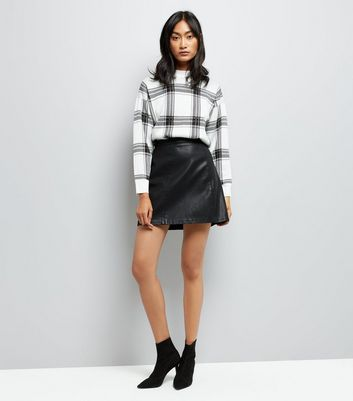 White Wide Check Jumper New Look