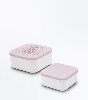 2 Pack Shell Pink S Initial Lunch Box New Look