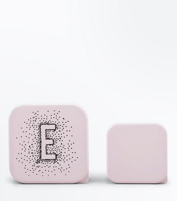 2 Pack Shell Pink E Initial Lunch Box New Look