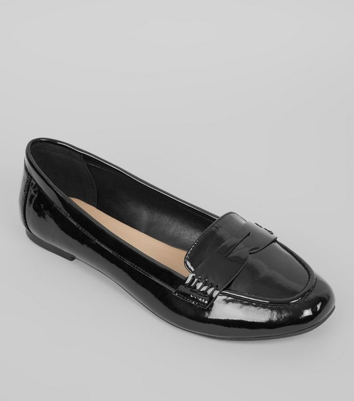 55b3f185034 Wide Fit Black Patent Loafers