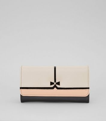 Black Colour Block Bow Foldover Purse New Look