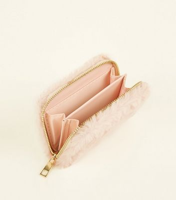 Pink Faux Fur Cardholder New Look