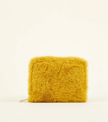 Mustard Yellow Faux Fur Card Holder