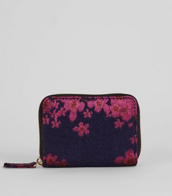 Pink Floral Jacquard Coin Purse New Look