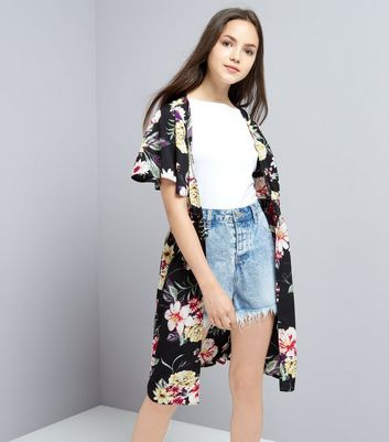 Teens Black Floral Print Button Front Kimono New Look