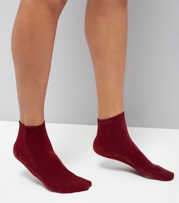 Red Glitter Ankle Socks New Look