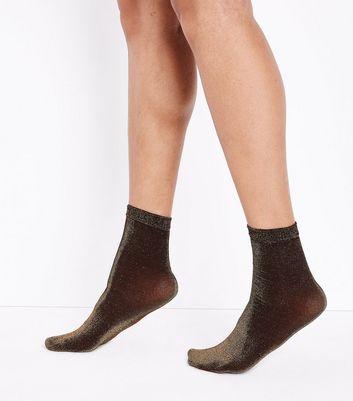 Gold Glitter Ankle Socks New Look