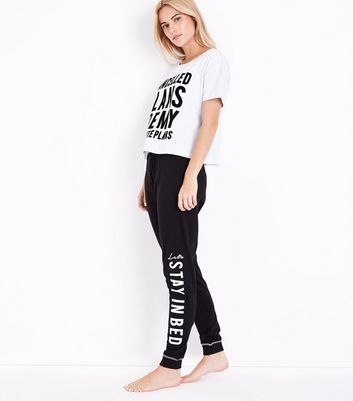 Pale Blue Cancelled Plans Slogan Pyjama Set New Look