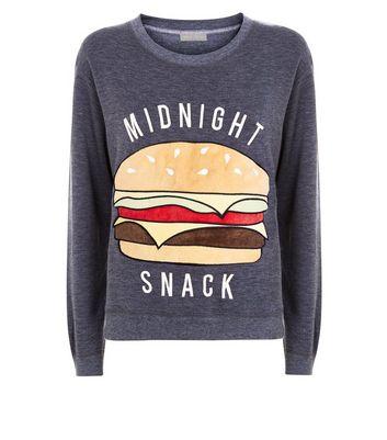 Dark Grey Midnight Snack Pyjama Sweatshirt New Look