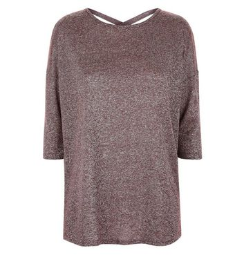 Burgundy Glitter Fine Knit Lattice Back Top New Look