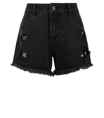 Teens Black Ripped Floral Patch Denim Shorts New Look