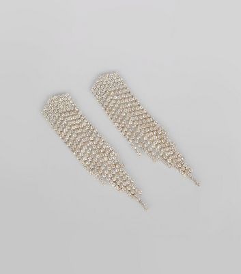 Gold Diamante Embellished Tassel Earrings New Look