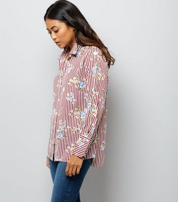 Petite Red Stripe Floral Print Shirt New Look