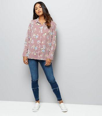 petite-red-stripe-floral-print-shirt