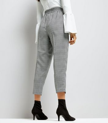 Petite Black Check High Waist Trousers New Look