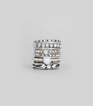 12 Pack Silver Skinny Rings New Look