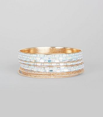 Silver Gem Detail Bangle Pack New Look