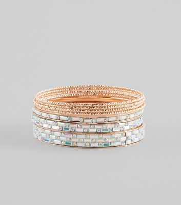 Rose Gold Gem Detail Bangle Pack New Look