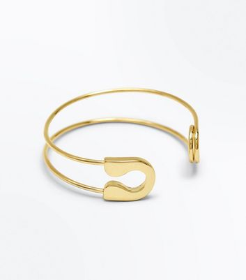 Gold Safety Pin Cuff New Look
