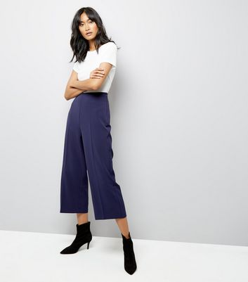 Navy Crepe Crop Wide Leg Trousers New Look