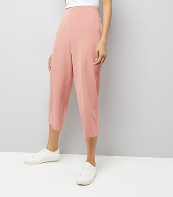 Shell Pink Crepe Crop Wide Leg Trousers New Look