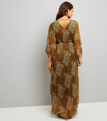 Mela Brown Leopard Print Kaftan Dress New Look