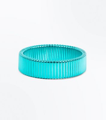 Blue Metallic Plates Bracelet New Look